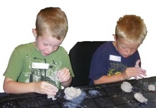 Kids playing with clay